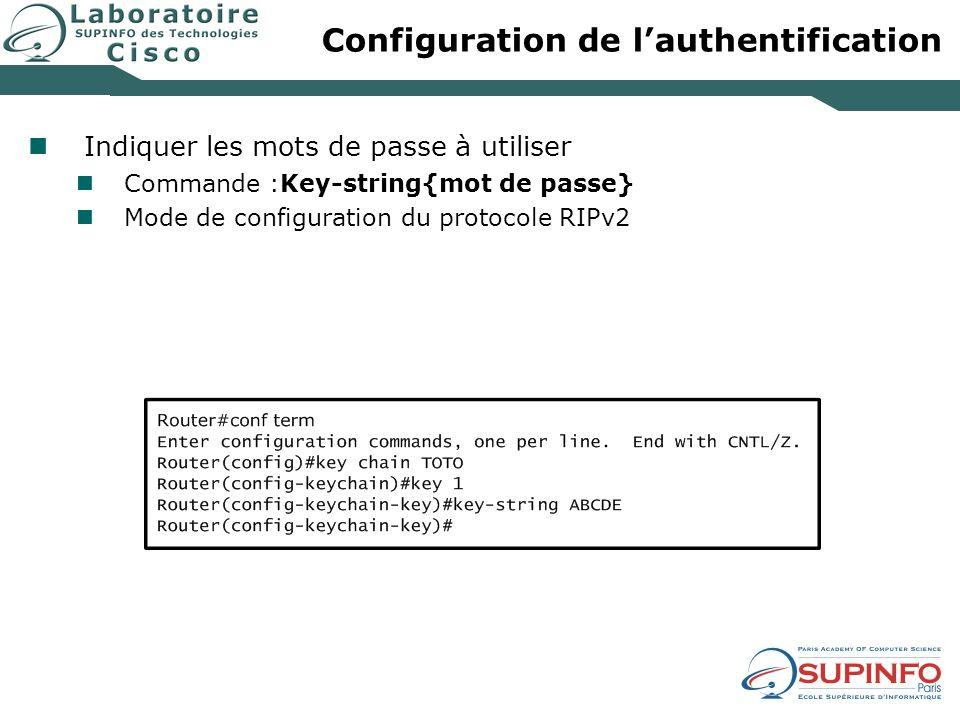 Configuration de lauthentification Indiquer les mots de passe à utiliser Commande :Key-string{mot de passe} Mode de configuration du protocole RIPv2