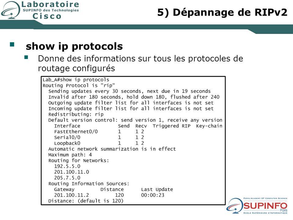 5) Dépannage de RIPv2 show ip protocols Donne des informations sur tous les protocoles de routage configurés