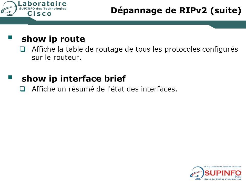 Dépannage de RIPv2 (suite) show ip route Affiche la table de routage de tous les protocoles configurés sur le routeur.