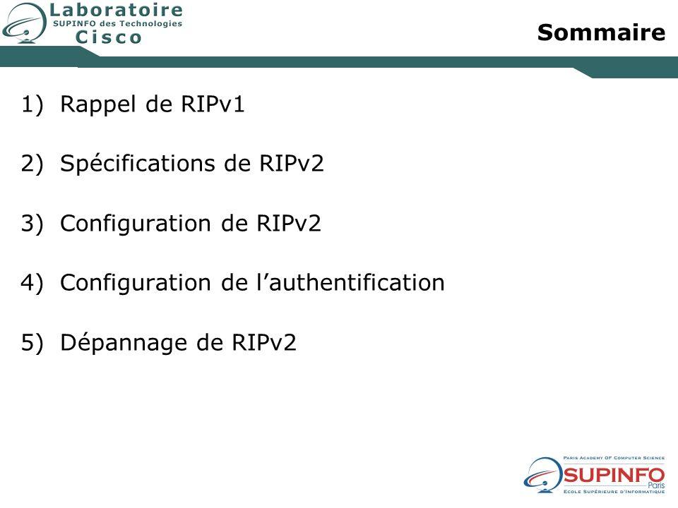 Sommaire 1)Rappel de RIPv1 2)Spécifications de RIPv2 3)Configuration de RIPv2 4)Configuration de lauthentification 5)Dépannage de RIPv2