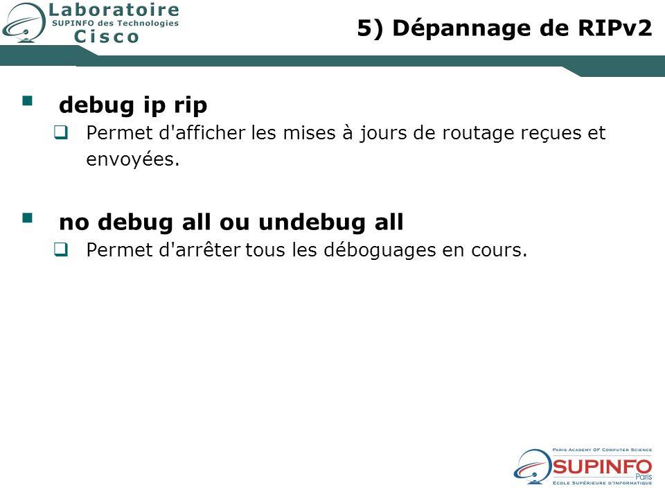 5) Dépannage de RIPv2 debug ip rip Permet d afficher les mises à jours de routage reçues et envoyées.