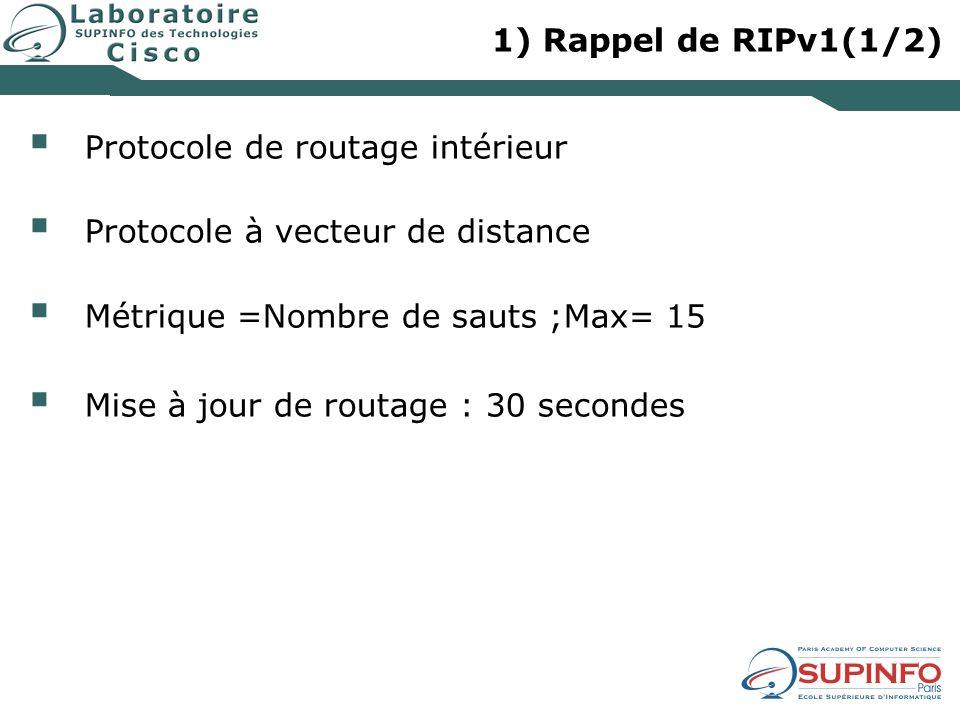 1) Rappel de RIPv1(1/2) Protocole de routage intérieur Protocole à vecteur de distance Métrique =Nombre de sauts ;Max= 15 Mise à jour de routage : 30 secondes