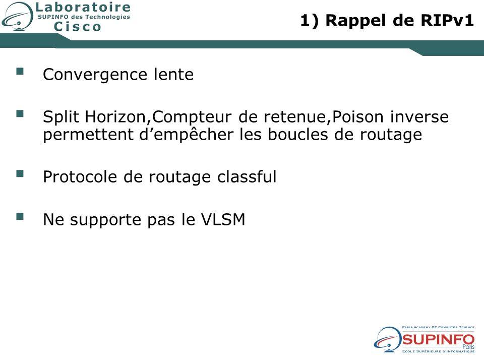 1) Rappel de RIPv1 Convergence lente Split Horizon,Compteur de retenue,Poison inverse permettent dempêcher les boucles de routage Protocole de routage classful Ne supporte pas le VLSM
