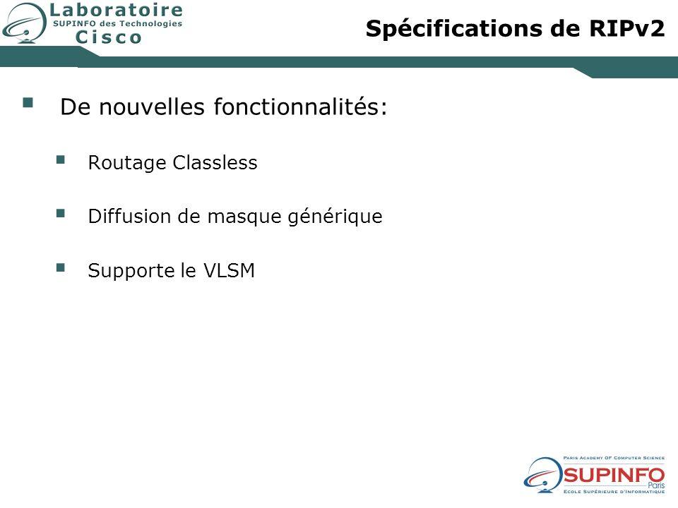 Spécifications de RIPv2 De nouvelles fonctionnalités: Routage Classless Diffusion de masque générique Supporte le VLSM