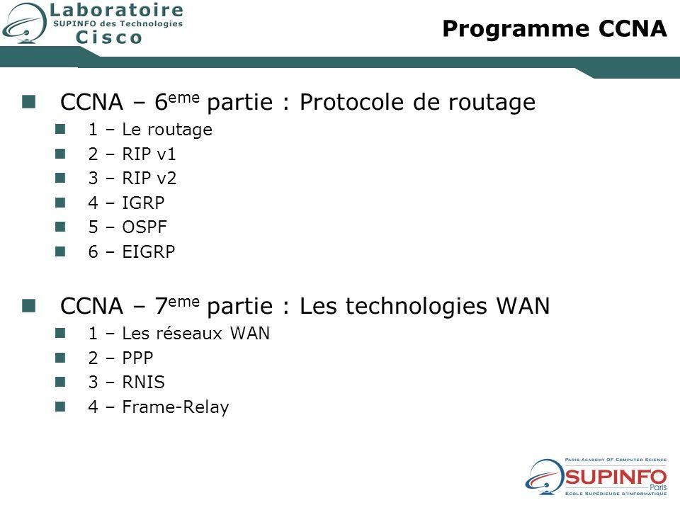 Programme CCNA CCNA – 6 eme partie : Protocole de routage 1 – Le routage 2 – RIP v1 3 – RIP v2 4 – IGRP 5 – OSPF 6 – EIGRP CCNA – 7 eme partie : Les t