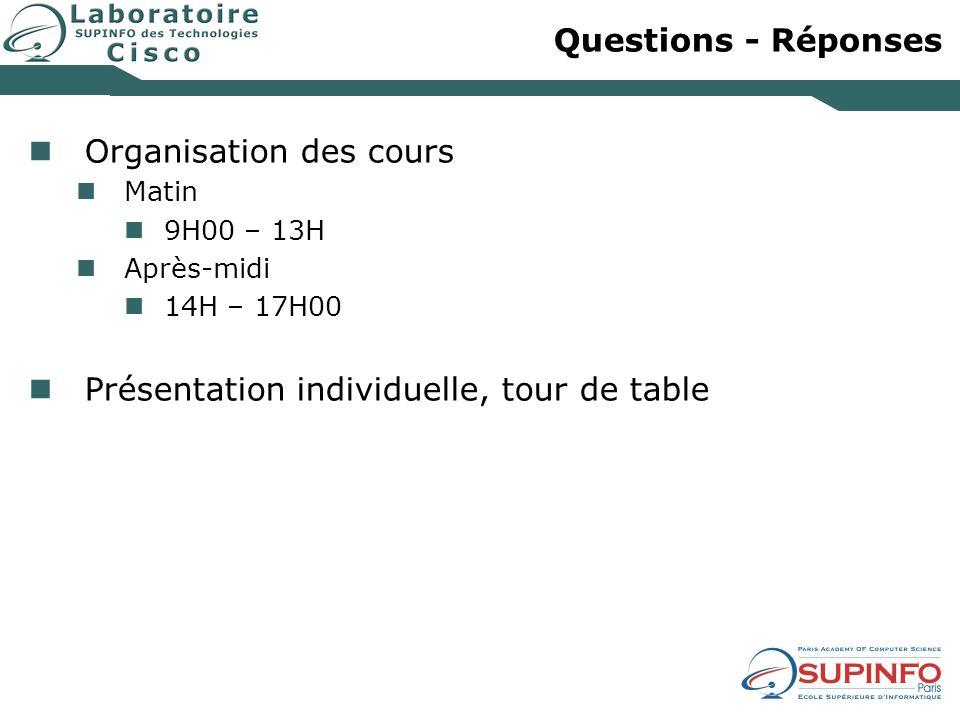 Questions - Réponses Organisation des cours Matin 9H00 – 13H Après-midi 14H – 17H00 Présentation individuelle, tour de table