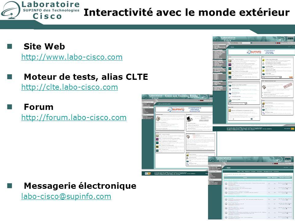 Interactivité avec le monde extérieur Site Web http://www.labo-cisco.com Moteur de tests, alias CLTE http://clte.labo-cisco.com Forum http://forum.lab