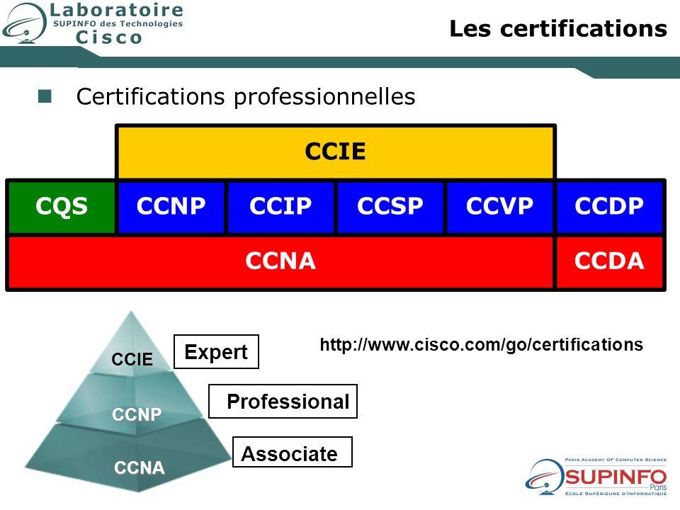 Les certifications Certifications professionnelles CCNA CCNP CCIE Professional Associate Expert http://www.cisco.com/go/certifications