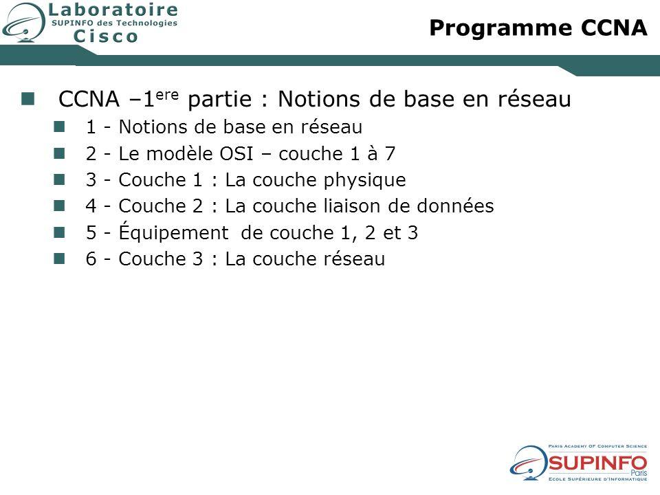 Programme CCNA CCNA –1 ere partie : Notions de base en réseau 1 - Notions de base en réseau 2 - Le modèle OSI – couche 1 à 7 3 - Couche 1 : La couche