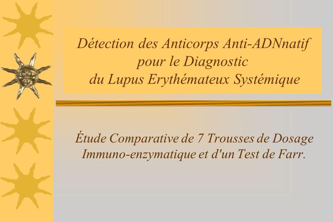 Détection des Anticorps Anti-ADNnatif pour le Diagnostic du Lupus Erythémateux Systémique Étude Comparative de 7 Trousses de Dosage Immuno-enzymatique et d un Test de Farr.