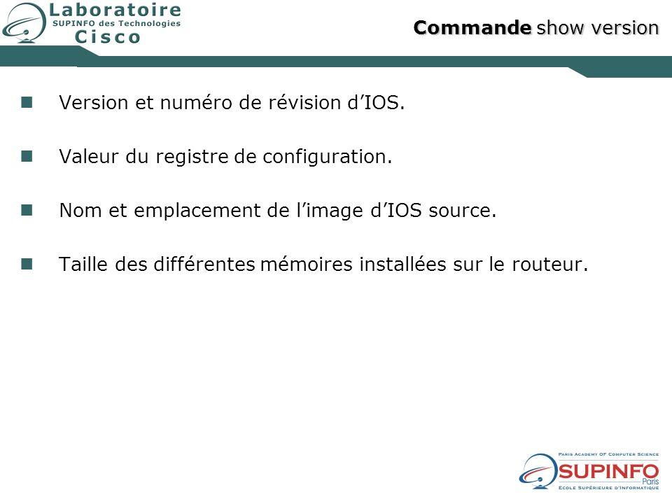 Commande show version Version et numéro de révision dIOS. Valeur du registre de configuration. Nom et emplacement de limage dIOS source. Taille des di