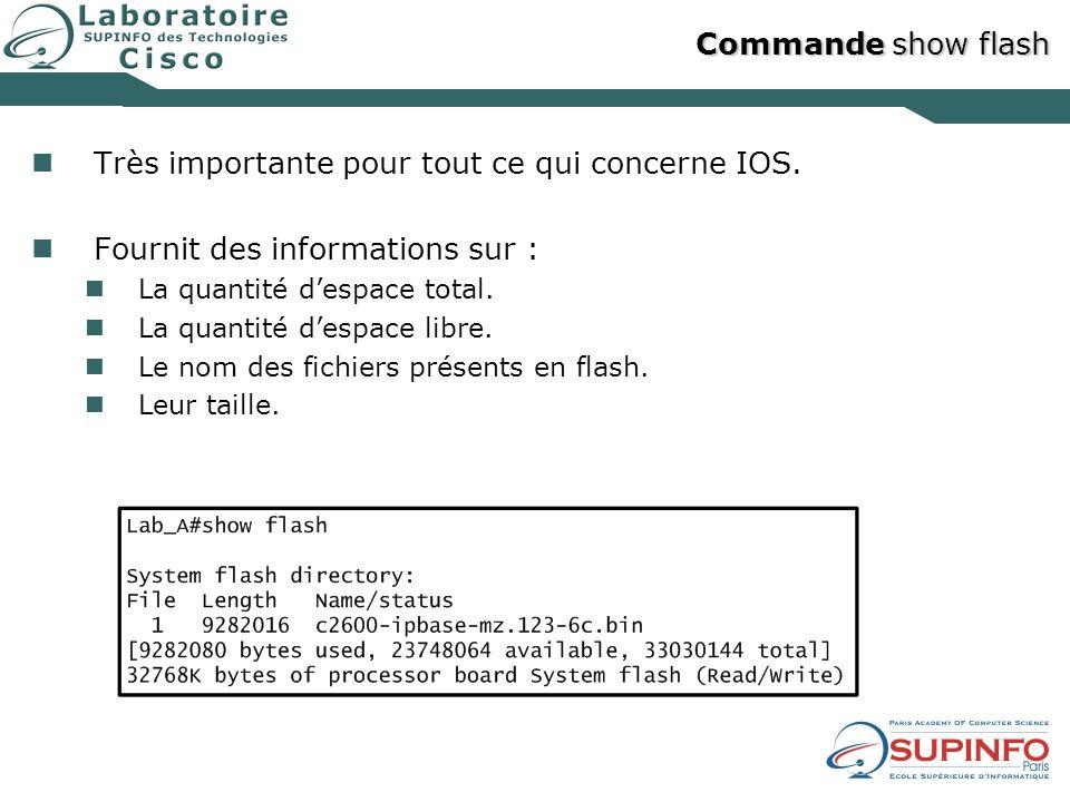 Commande show flash Très importante pour tout ce qui concerne IOS. Fournit des informations sur : La quantité despace total. La quantité despace libre
