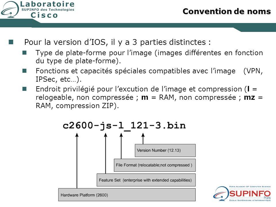 Convention de noms Pour la version dIOS, il y a 3 parties distinctes : Type de plate-forme pour limage (images différentes en fonction du type de plat