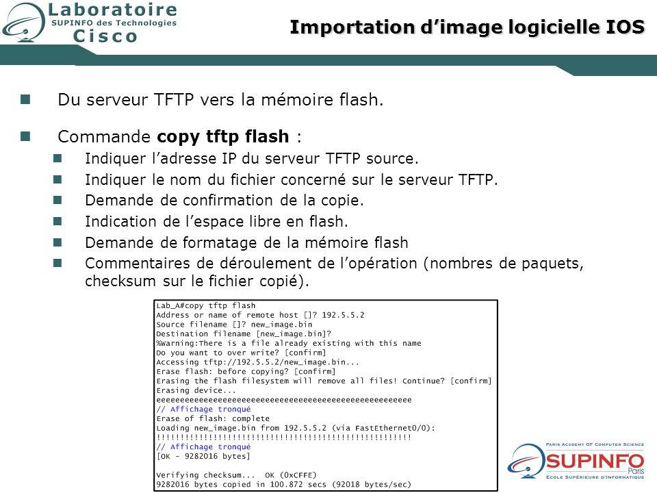Importation dimage logicielle IOS Du serveur TFTP vers la mémoire flash. Commande copy tftp flash : Indiquer ladresse IP du serveur TFTP source. Indiq