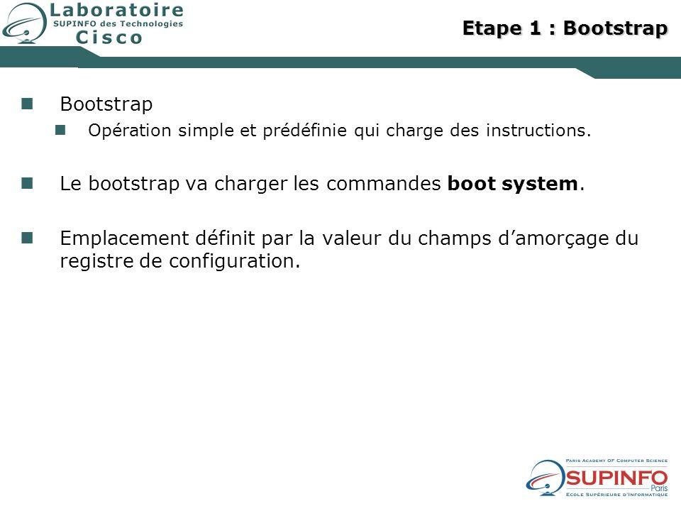 Etape 1 : Bootstrap Bootstrap Opération simple et prédéfinie qui charge des instructions. Le bootstrap va charger les commandes boot system. Emplaceme
