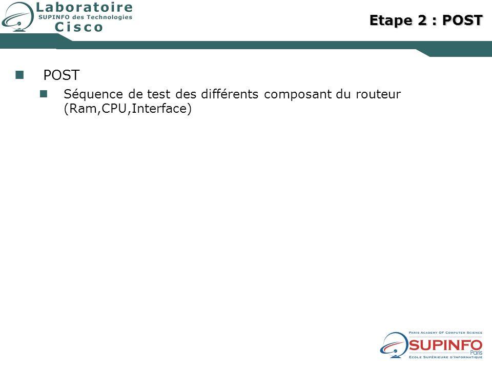 Etape 2 : POST POST Séquence de test des différents composant du routeur (Ram,CPU,Interface)