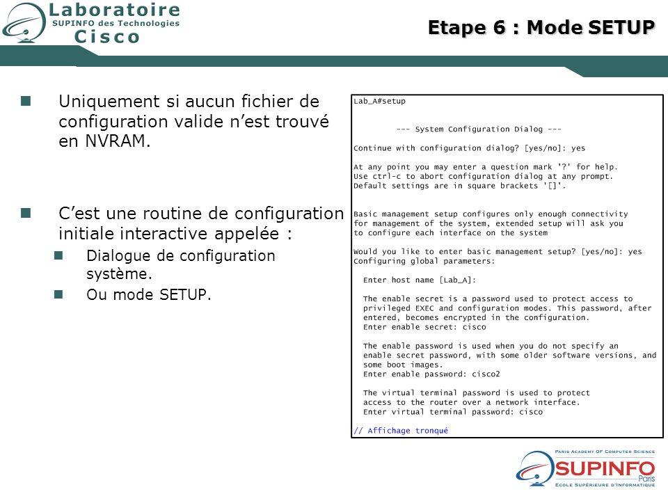 Etape 6 : Mode SETUP Uniquement si aucun fichier de configuration valide nest trouvé en NVRAM. Cest une routine de configuration initiale interactive