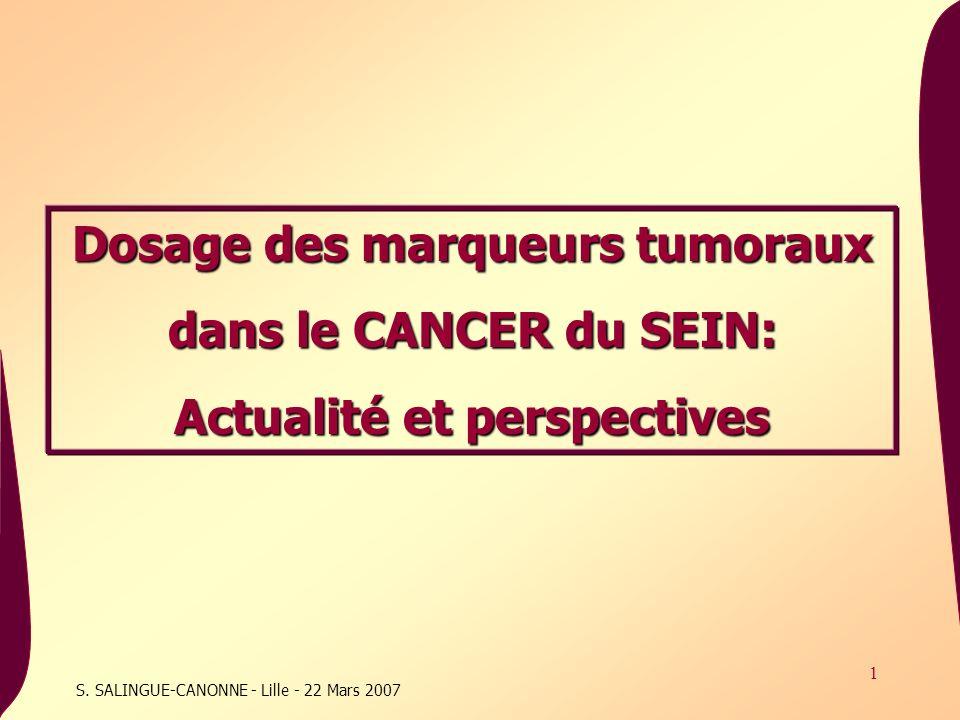 72 Dosage des marqueurs tumoraux dans le CANCER du SEIN: Actualité et perspectives Conclusion La place des marqueurs tumoraux actuels (CA15-3) dans le cancer du sein reste controversée (manque de sensibilité, spécificité, variabilité des techniques, valeurs « seuil »…) Le développement de profils individualisés via les logiciels de cinétique permettra peut-être de leur donner un second souffle… Le développement des nouveaux « biomarqueurs » semble prometteur dans un contexte de thérapie ciblée… Mais ces nouvelles perspectives ne peuvent se mettre en place quau sein dune collaboration efficace entre laboratoires de Recherche et ceux de Production assurant ainsi un fil conducteur entre la Recherche et les Cliniciens dans le cadre détudes cliniques.