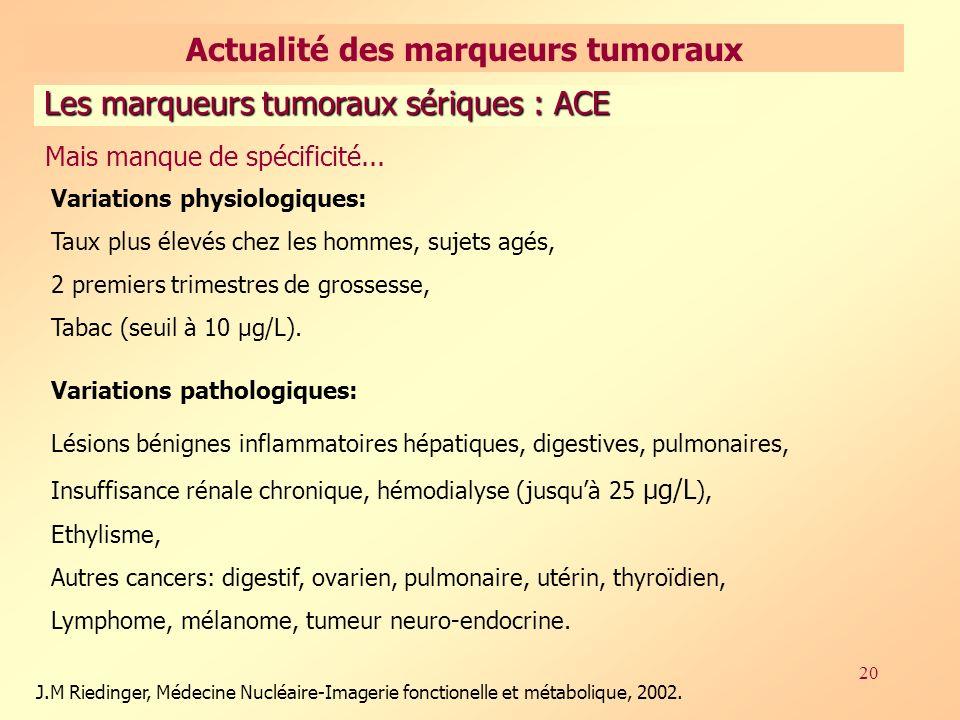 20 Les marqueurs tumoraux sériques : ACE Variations physiologiques: Taux plus élevés chez les hommes, sujets agés, 2 premiers trimestres de grossesse, Tabac (seuil à 10 µg/L).
