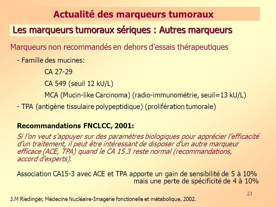 21 Les marqueurs tumoraux sériques : Autres marqueurs J.M Riedinger, Médecine Nucléaire-Imagerie fonctionelle et métabolique, 2002.