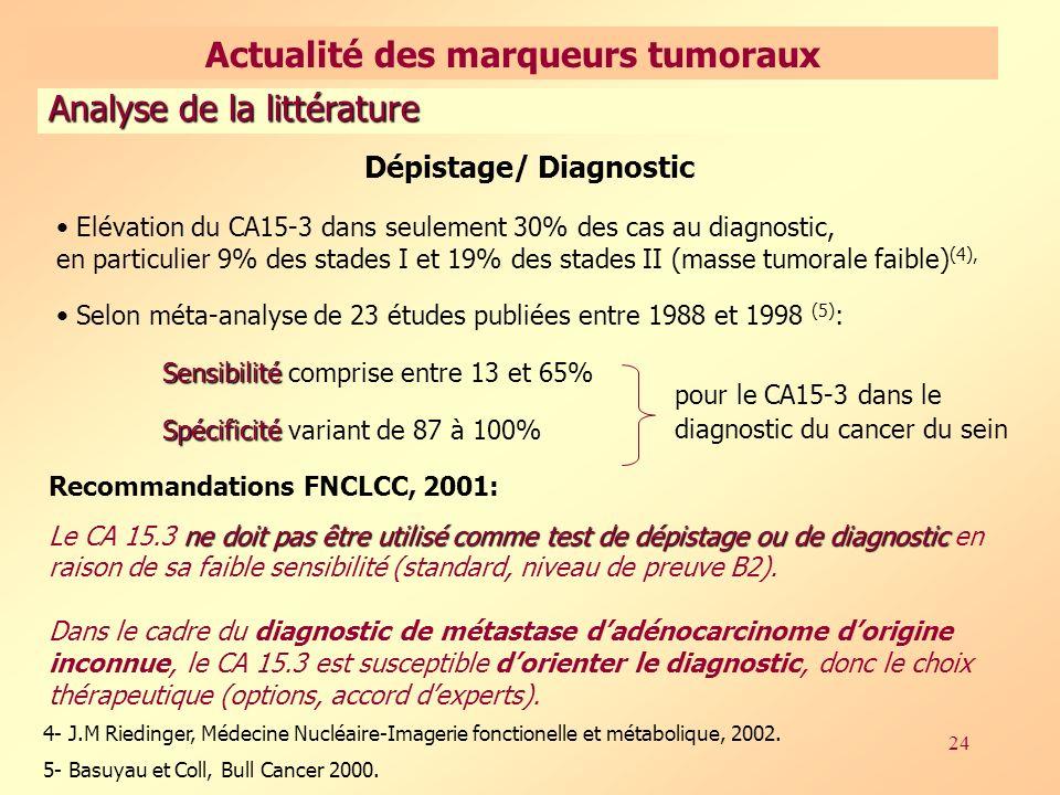 24 Dépistage/ Diagnostic Elévation du CA15-3 dans seulement 30% des cas au diagnostic, en particulier 9% des stades I et 19% des stades II (masse tumorale faible) (4), Selon méta-analyse de 23 études publiées entre 1988 et 1998 (5) : Sensibilité Sensibilité comprise entre 13 et 65% Spécificité Spécificité variant de 87 à 100% pour le CA15-3 dans le diagnostic du cancer du sein 4- J.M Riedinger, Médecine Nucléaire-Imagerie fonctionelle et métabolique, 2002.