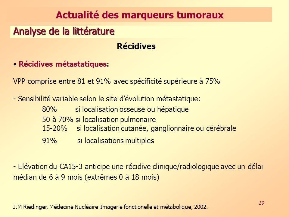 29 Récidives Récidives métastatiques: VPP comprise entre 81 et 91% avec spécificité supérieure à 75% - Sensibilité variable selon le site dévolution métastatique: 80% si localisation osseuse ou hépatique 50 à 70% si localisation pulmonaire 15-20% si localisation cutanée, ganglionnaire ou cérébrale 91% si localisations multiples - Elévation du CA15-3 anticipe une récidive clinique/radiologique avec un délai médian de 6 à 9 mois (extrêmes 0 à 18 mois) J.M Riedinger, Médecine Nucléaire-Imagerie fonctionelle et métabolique, 2002.