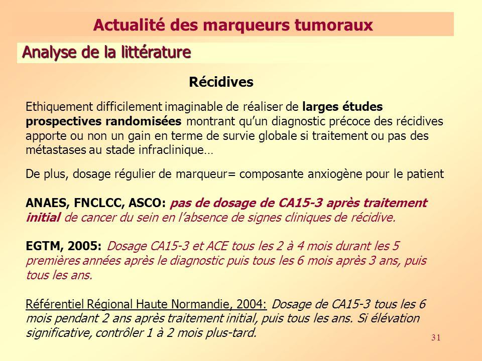 31 Récidives Ethiquement difficilement imaginable de réaliser de larges études prospectives randomisées montrant quun diagnostic précoce des récidives apporte ou non un gain en terme de survie globale si traitement ou pas des métastases au stade infraclinique… De plus, dosage régulier de marqueur= composante anxiogène pour le patient ANAES, FNCLCC, ASCO: pas de dosage de CA15-3 après traitement initial de cancer du sein en labsence de signes cliniques de récidive.
