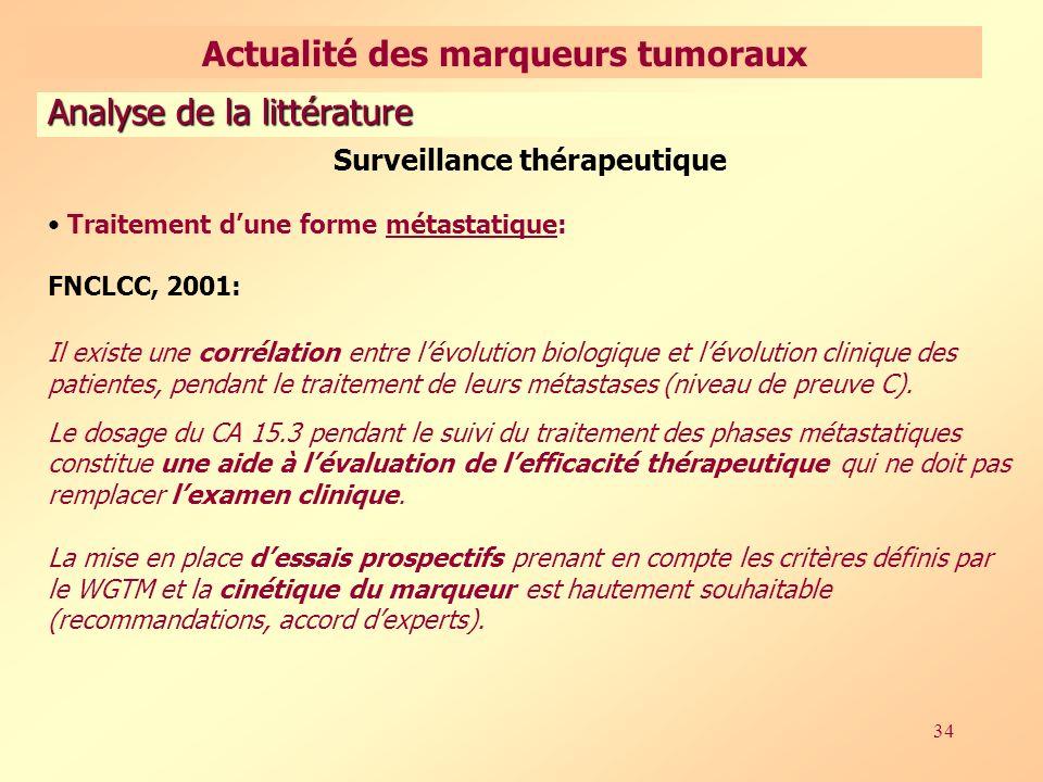 34 Surveillance thérapeutique Traitement dune forme métastatique: FNCLCC, 2001: Il existe une corrélation entre lévolution biologique et lévolution clinique des patientes, pendant le traitement de leurs métastases (niveau de preuve C).