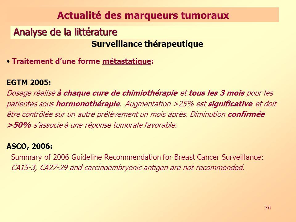 36 Surveillance thérapeutique Traitement dune forme métastatique: EGTM 2005: Dosage réalisé à chaque cure de chimiothérapie et tous les 3 mois pour les patientes sous hormonothérapie.