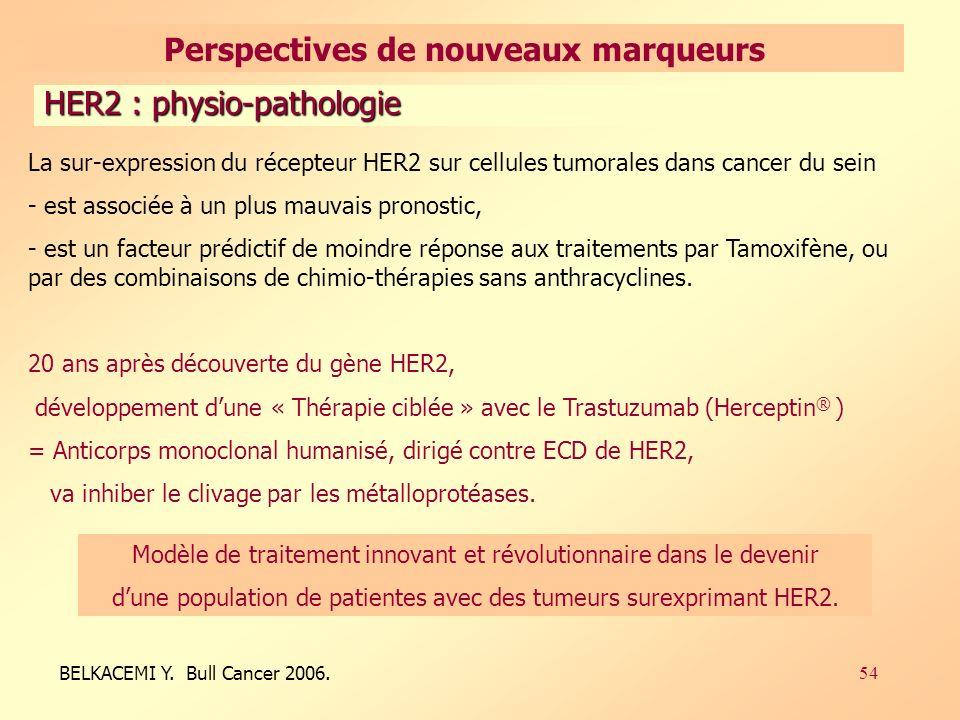 54 La sur-expression du récepteur HER2 sur cellules tumorales dans cancer du sein - est associée à un plus mauvais pronostic, - est un facteur prédictif de moindre réponse aux traitements par Tamoxifène, ou par des combinaisons de chimio-thérapies sans anthracyclines.