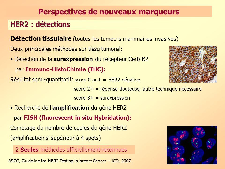 55 Détection tissulaire (toutes les tumeurs mammaires invasives) Deux principales méthodes sur tissu tumoral: Détection de la surexpression du récepteur Cerb-B2 par Immuno-HistoChimie (IHC): Résultat semi-quantitatif: score 0 ou+ = HER2 négative score 2+ = réponse douteuse, autre technique nécessaire score 3+ = surexpression Recherche de lamplification du gène HER2 par FISH (fluorescent in situ Hybridation): Comptage du nombre de copies du gène HER2 (amplification si supérieur à 4 spots) ASCO, Guideline for HER2 Testing in breast Cancer – JCO, 2007.