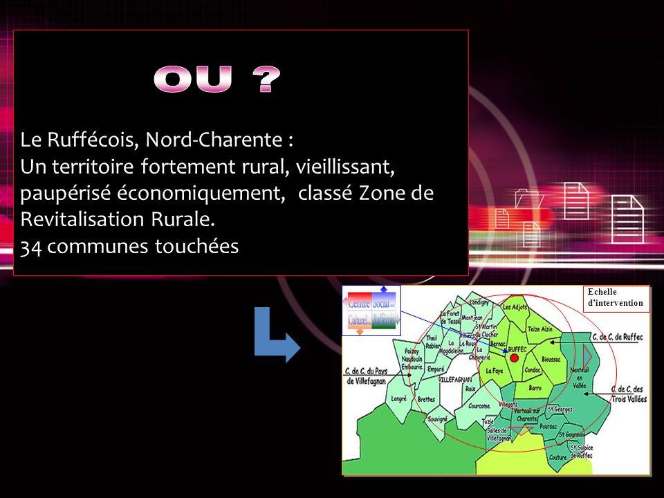 Le Ruffécois, Nord-Charente : Un territoire fortement rural, vieillissant, paupérisé économiquement, classé Zone de Revitalisation Rurale.