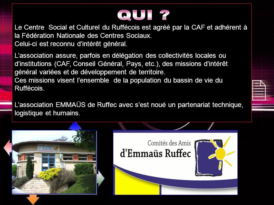 Le Centre Social et Culturel du Ruffécois est agréé par la CAF et adhérent à la Fédération Nationale des Centres Sociaux.