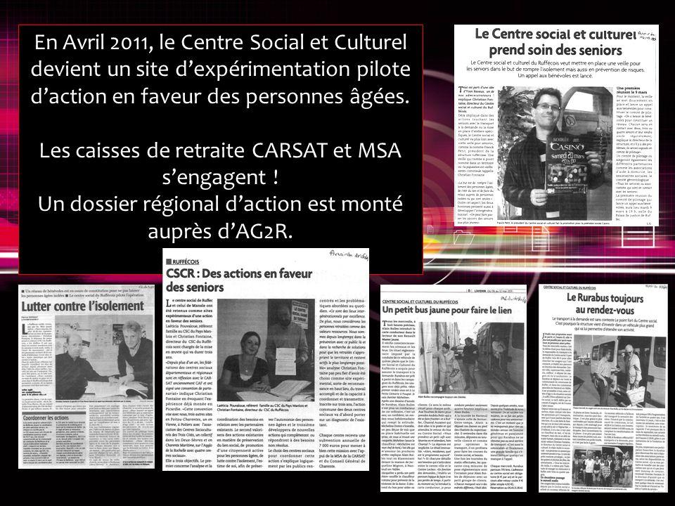 En Avril 2011, le Centre Social et Culturel devient un site dexpérimentation pilote daction en faveur des personnes âgées.