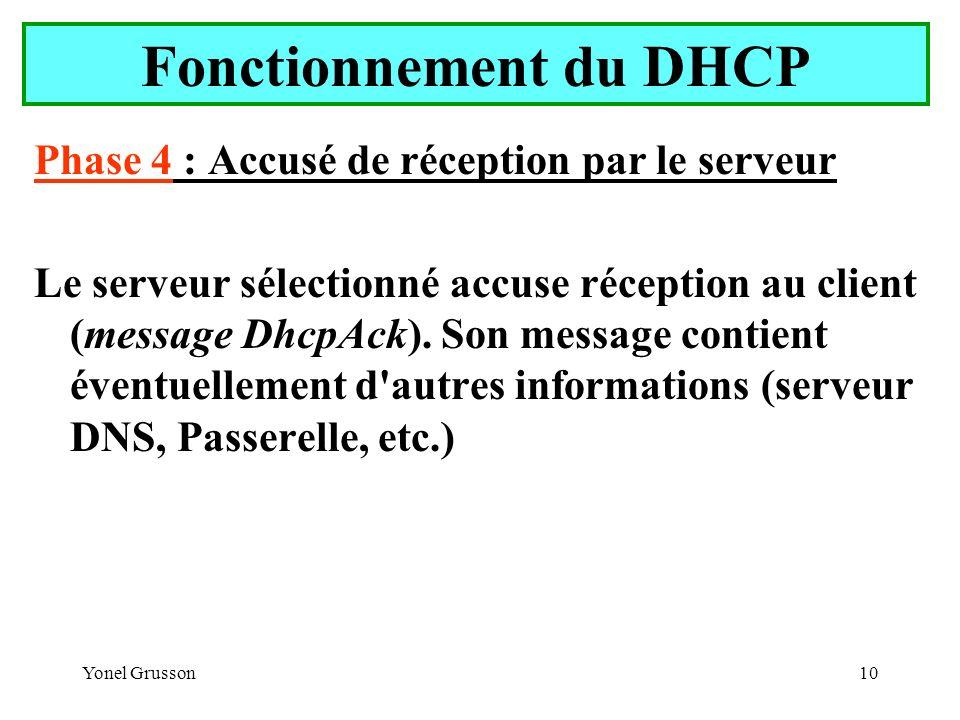 Yonel Grusson10 Fonctionnement du DHCP Phase 4 : Accusé de réception par le serveur Le serveur sélectionné accuse réception au client (message DhcpAck).