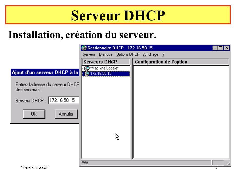 Yonel Grusson17 Serveur DHCP Installation, création du serveur.