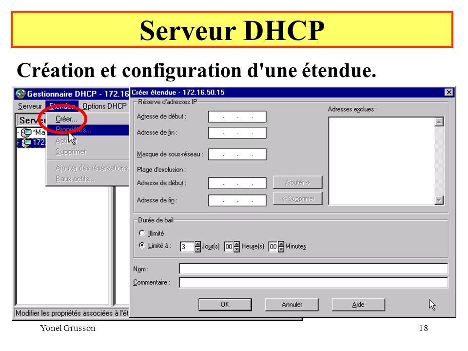 Yonel Grusson18 Serveur DHCP Création et configuration d une étendue.
