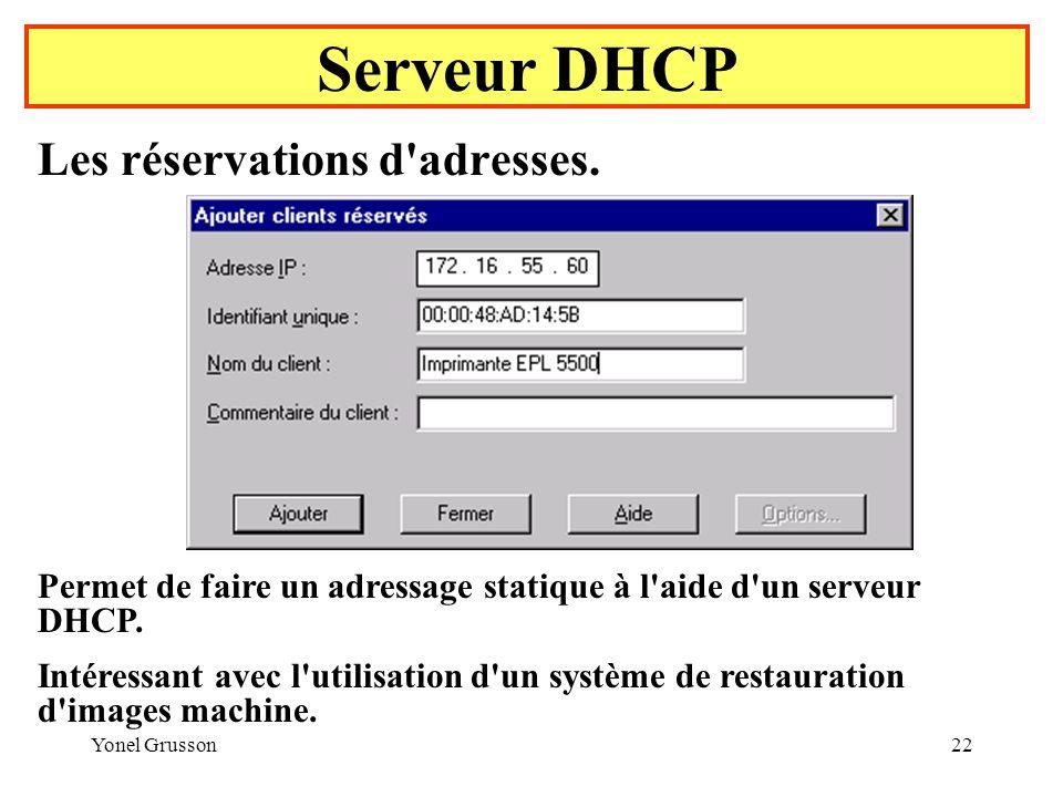 Yonel Grusson22 Serveur DHCP Les réservations d adresses.