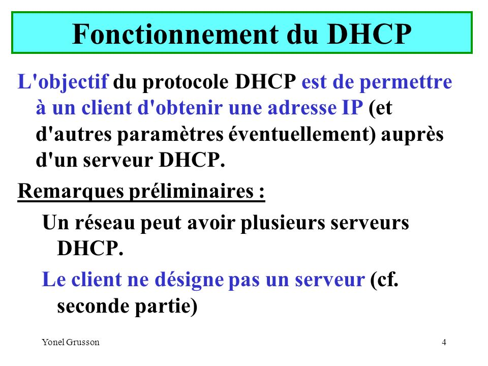 Yonel Grusson15 Client DHCP Le paramétrage d un client DHCP est très simple :