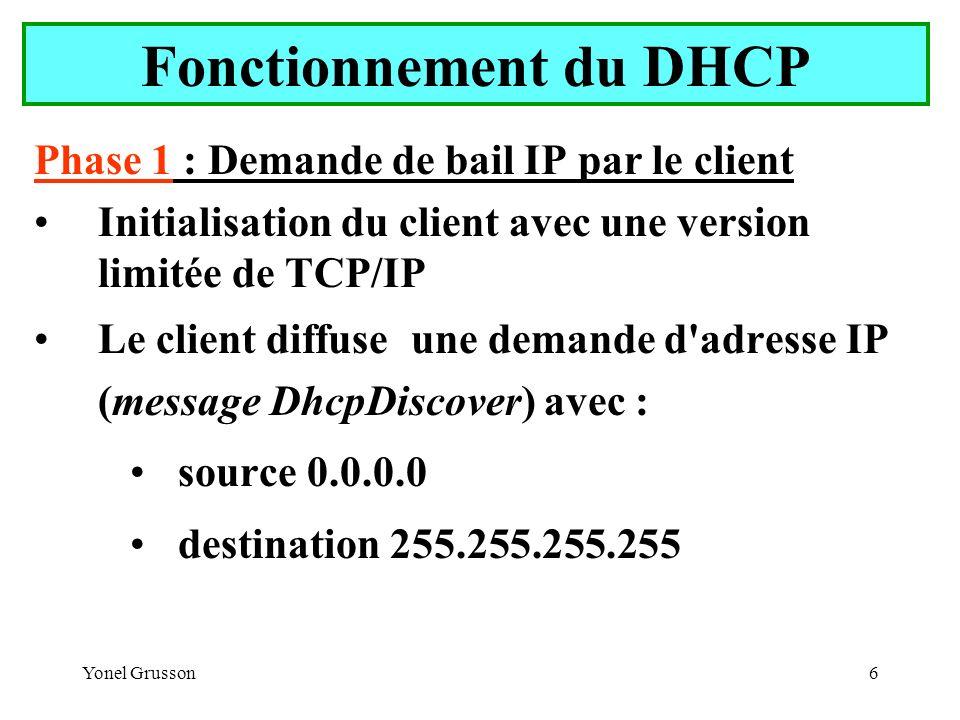 Yonel Grusson7 Fonctionnement du DHCP Phase 2 : Offre de bail par un serveur Tous les serveurs reçoivent la demande.