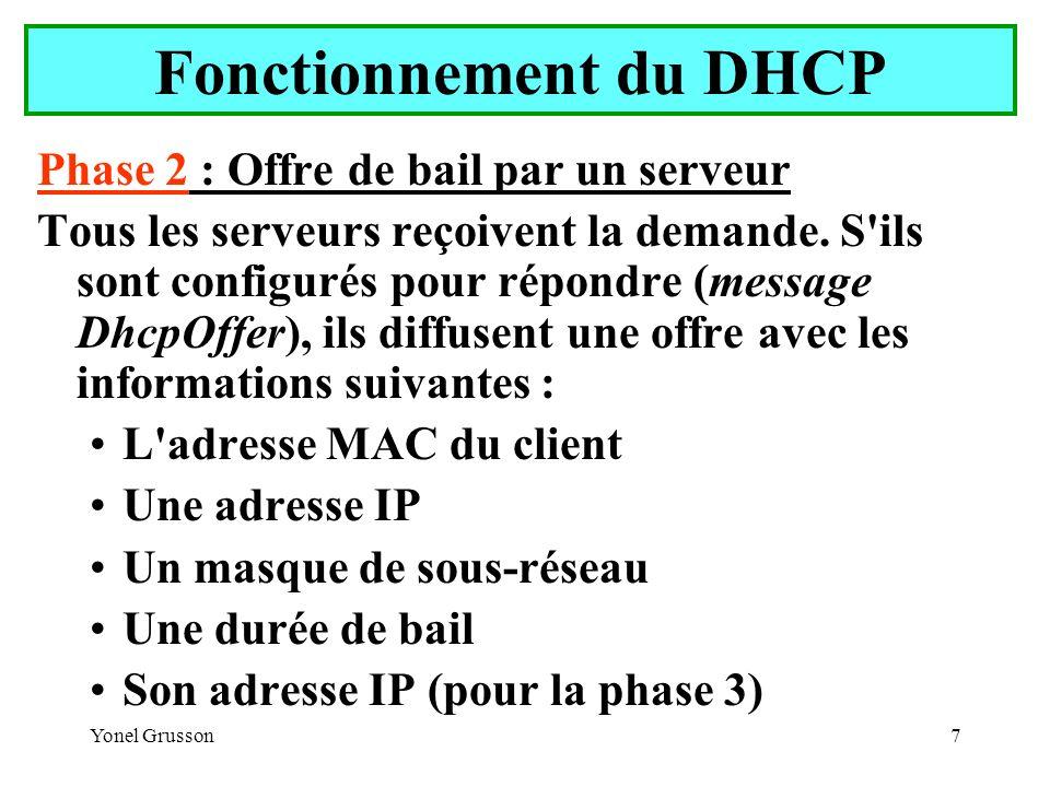 Yonel Grusson8 Fonctionnement du DHCP Un client DHCP attend une offre pendant une seconde.