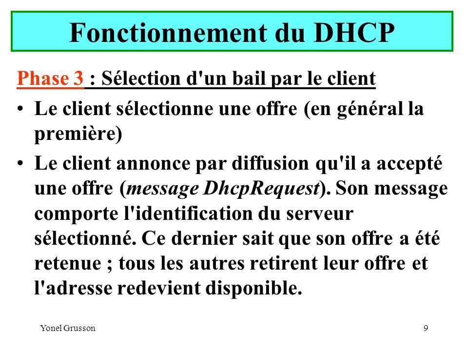 Yonel Grusson20 Serveur DHCP Création et configuration d une étendue.