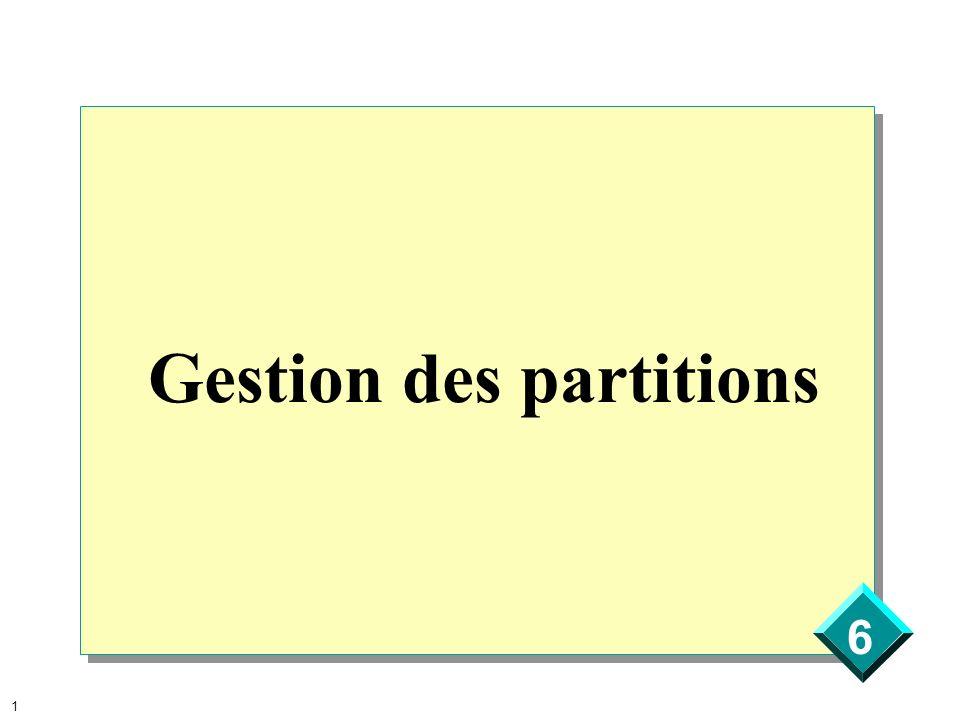 6 2 Présentation générale Partitionnement dun disque Utilisation de lAdministrateur de disques Maintenance générale et dépannage