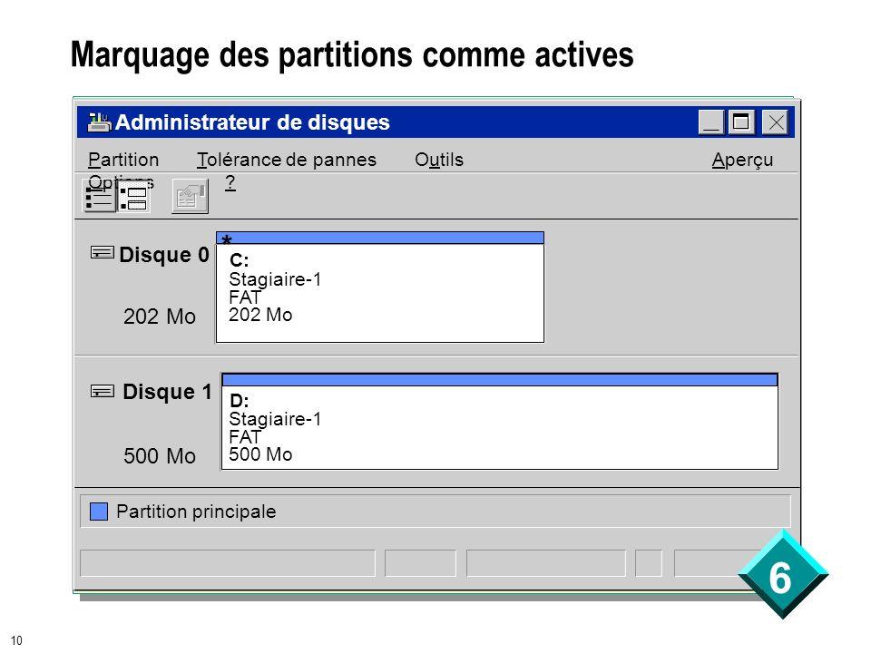 6 10 Marquage des partitions comme actives Administrateur de disques Disque 0 Disque 1 202 Mo 500 Mo D: Stagiaire-1 FAT 500 Mo C: Stagiaire-1 FAT 202