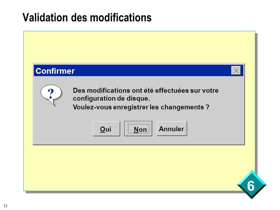 6 13 Validation des modifications Des modifications ont été effectuées sur votre configuration de disque. Voulez-vous enregistrer les changements ? ?
