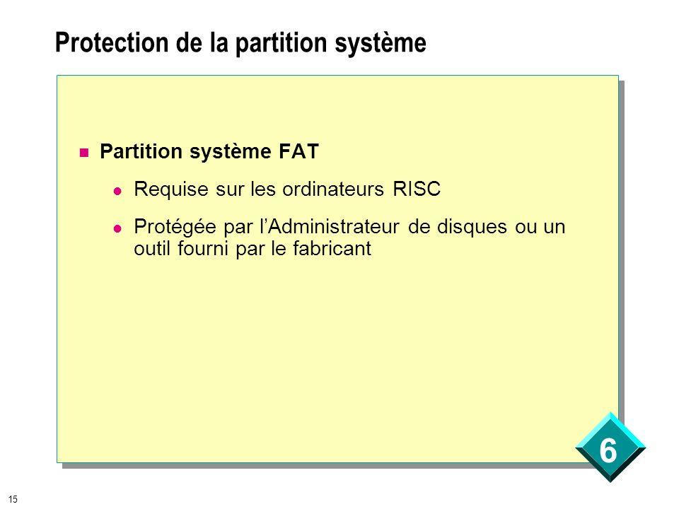 6 15 Protection de la partition système Partition système FAT Requise sur les ordinateurs RISC Protégée par lAdministrateur de disques ou un outil fou