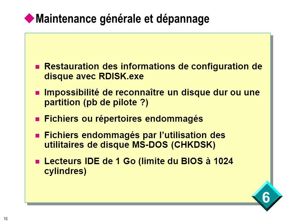 6 16 Maintenance générale et dépannage Restauration des informations de configuration de disque avec RDISK.exe Impossibilité de reconnaître un disque