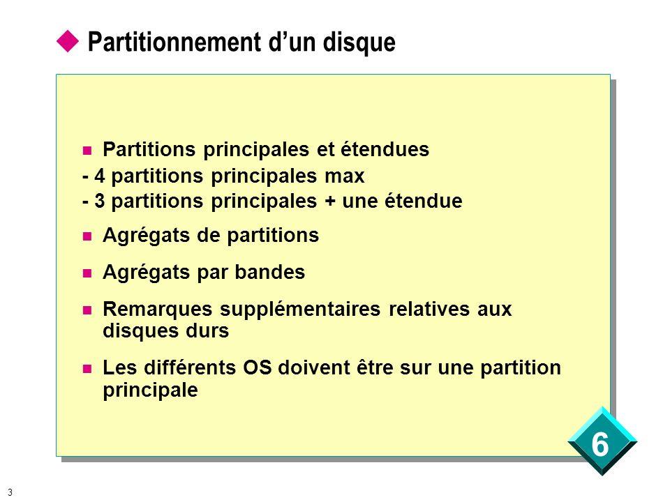 6 3 Partitionnement dun disque Partitions principales et étendues - 4 partitions principales max - 3 partitions principales + une étendue Agrégats de