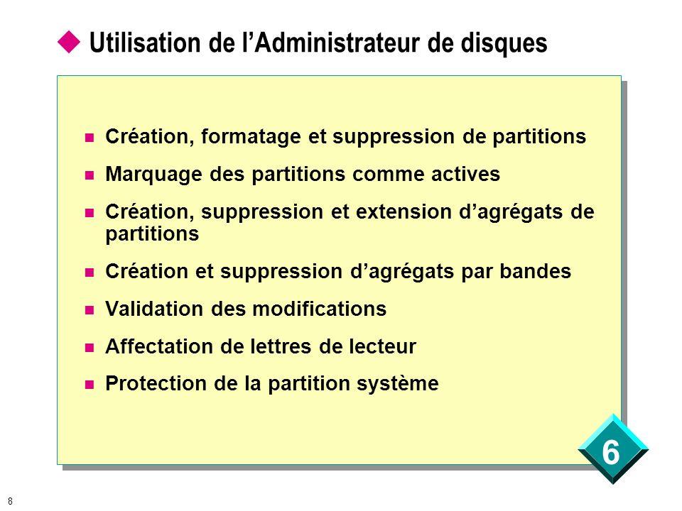 6 8 Utilisation de lAdministrateur de disques Création, formatage et suppression de partitions Marquage des partitions comme actives Création, suppres