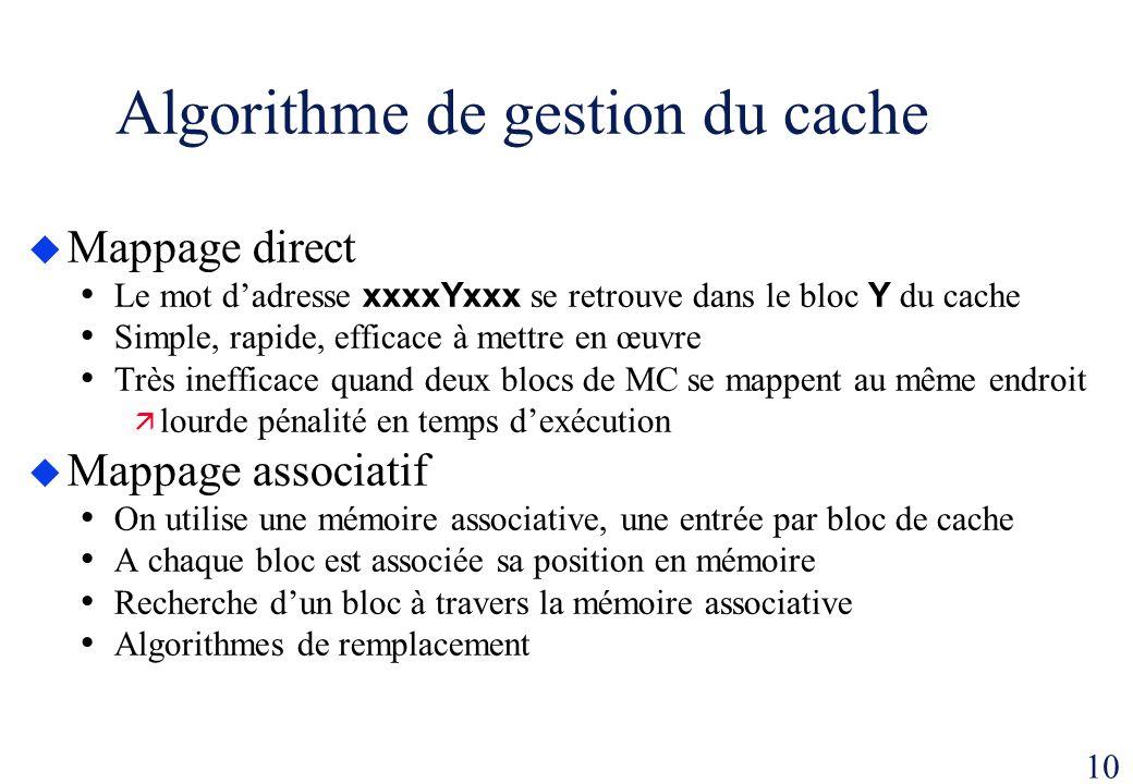 10 Algorithme de gestion du cache Mappage direct Le mot dadresse xxxxYxxx se retrouve dans le bloc Y du cache Simple, rapide, efficace à mettre en œuv